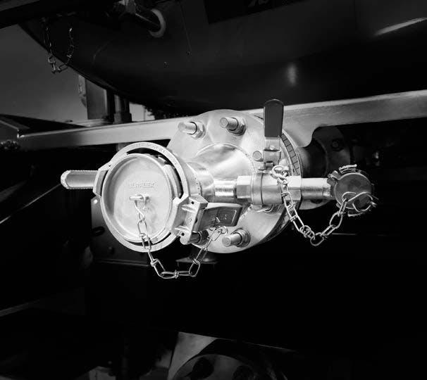 ADR mevzuatına uygun, 3 kapama organına sahip boşaltım hattı